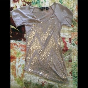 Rose gold sequined Miss Me Top